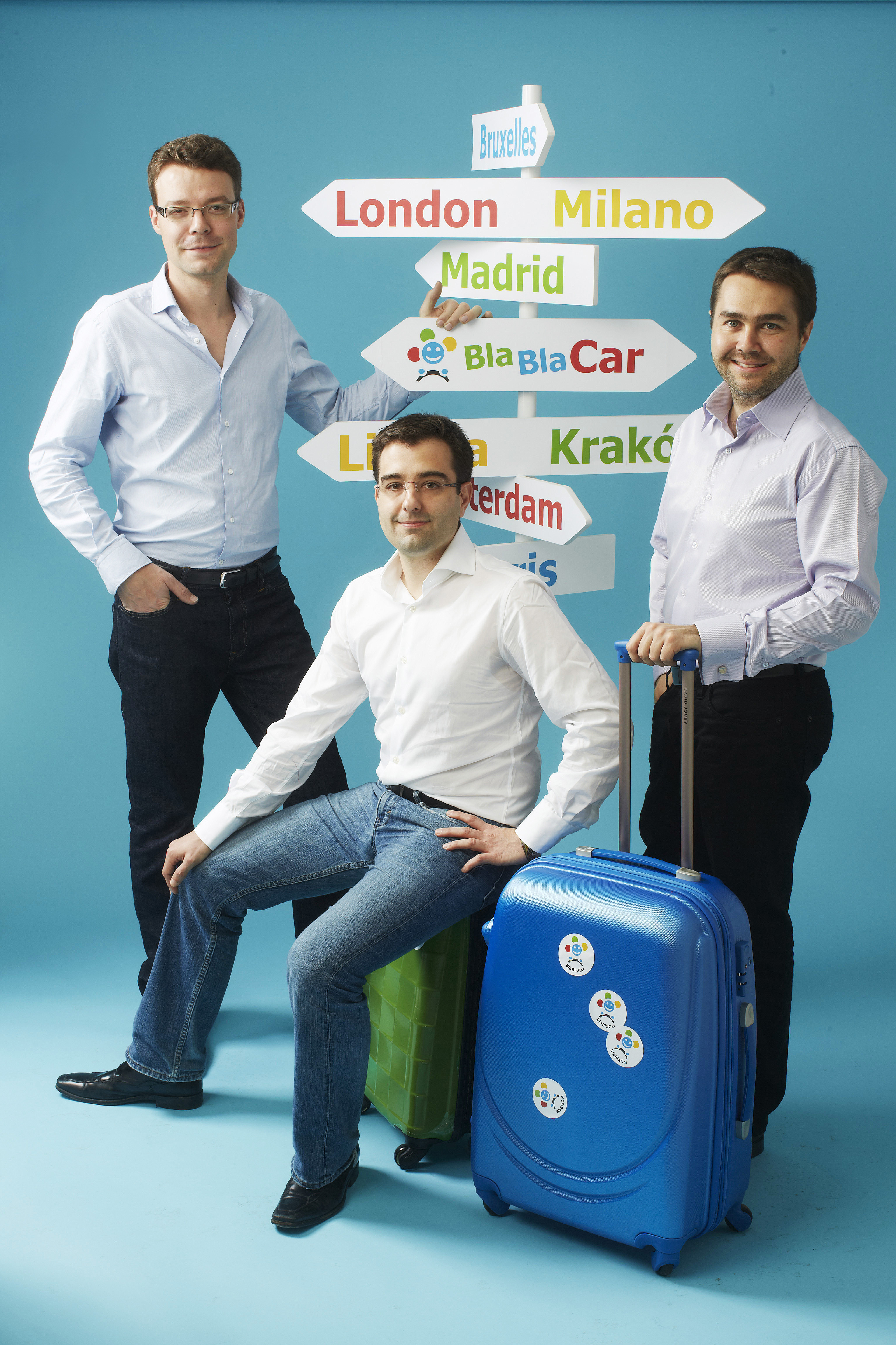 The co-founders of BlaBlaCar: Francis Nappez, CTO, Nicolas Brusson, COO, and Frédéric Mazzella, CEO. © BlaBlaCar
